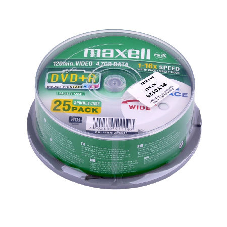 DVD+R MAXELL 4,7GB 16X PRINT. FF CAKE 25BUC.
